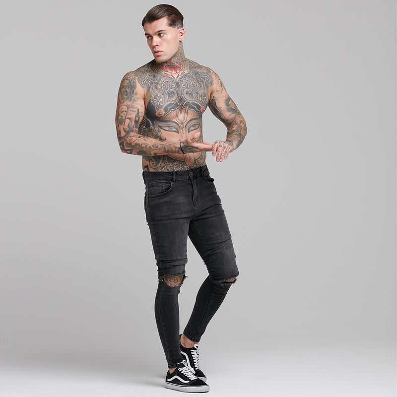 Father Sons Stretch Washed Black Ripped Tapered Ankle Skinny Jeans - FSH227