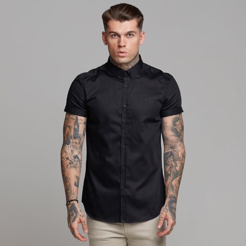 Father Sons Classic Black Luxe Egyptian Cotton Button Down Short Sleeve - FS492