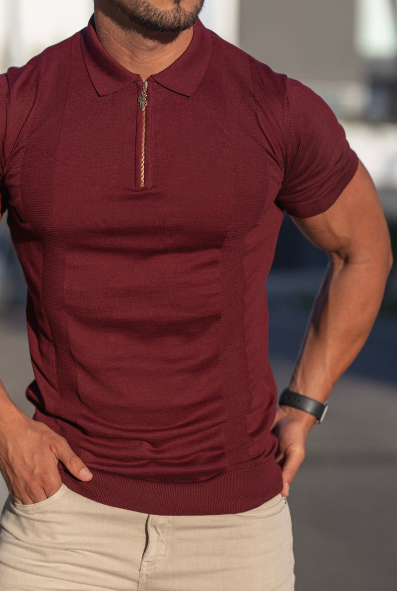 Father Sons Classic Fig Burgundy and Gold Zip Knitted Short Sleeve Polo - FSH466