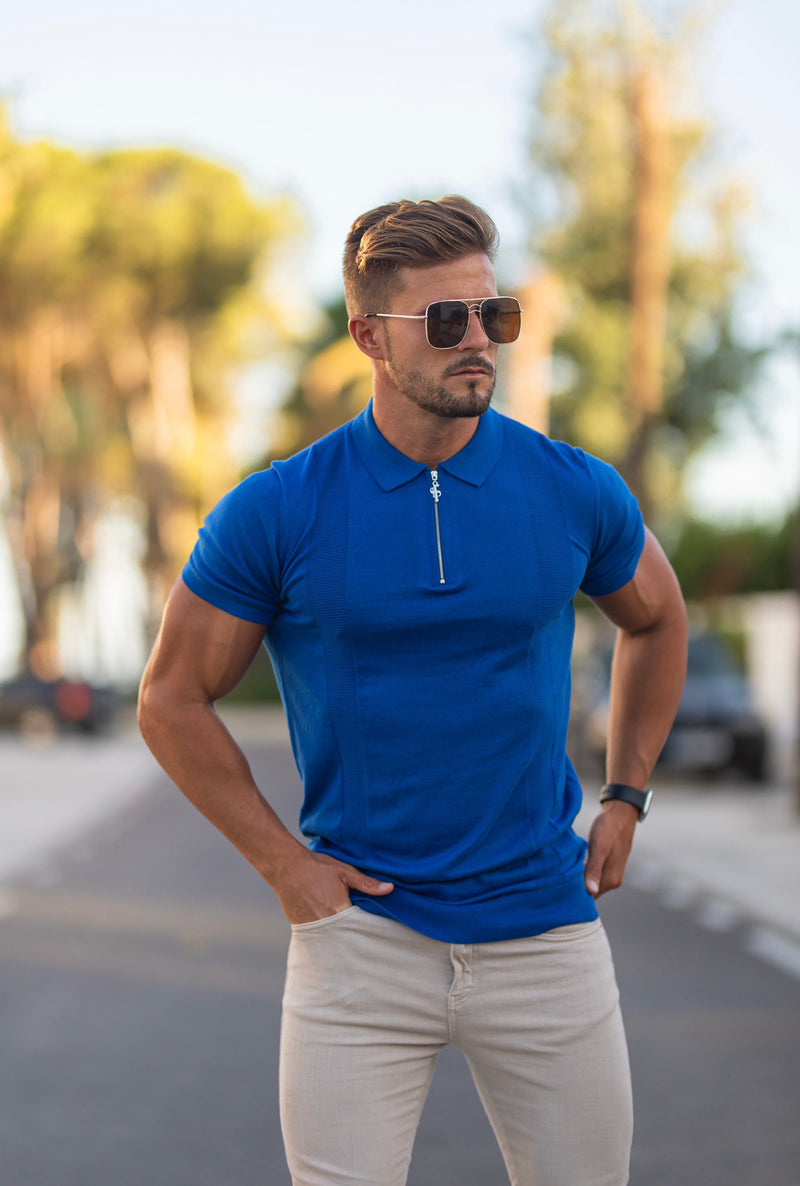 Father Sons Classic Royal Blue and Silver Zip Knitted Short Sleeve Polo - FSH468