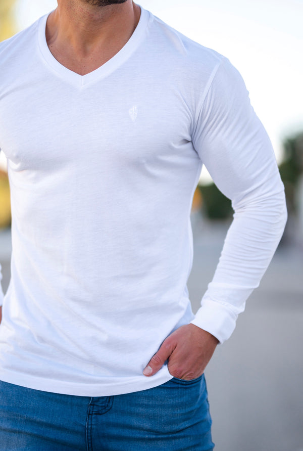 Father Sons White Bamboo V Neck Crew Long Sleeve - FSH580