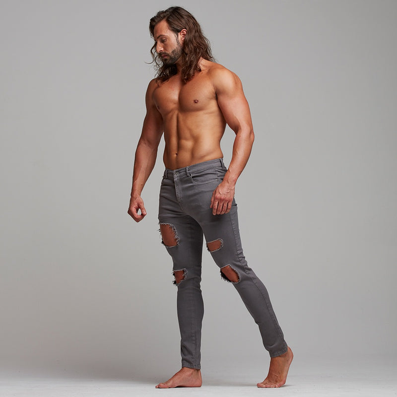 Father Sons Slim Ultra Stretch Grey Ripped Jeans - FSH283