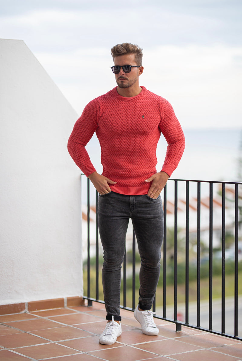Father Sons Coral Knitted Weave Super Slim Jumper With Metal Decal - FSJ021