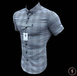 Father Sons Super Slim Stretch Prince Of Wales White and Black Check Short Sleeve - FS460