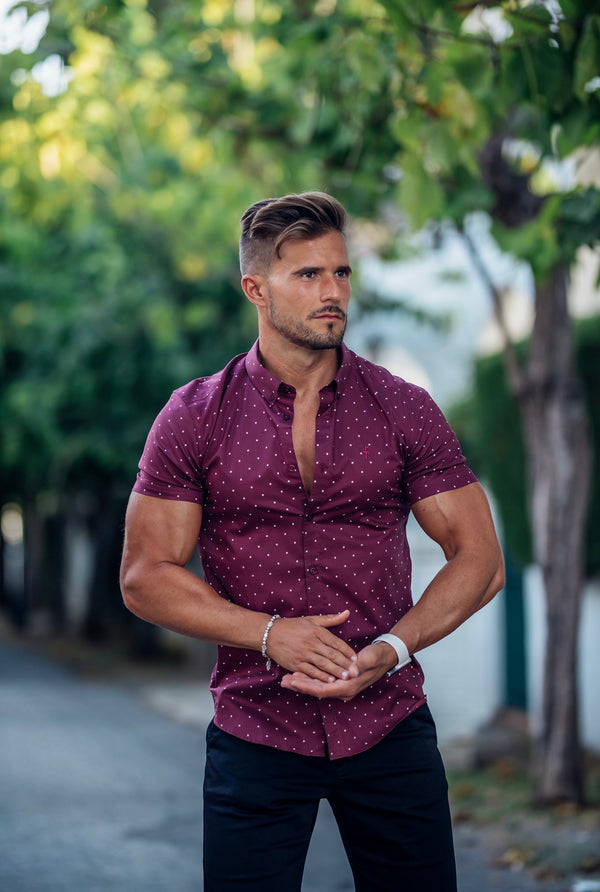 Father Sons Super Slim Stretch Burgundy & White Circular Print Short Sleeve - FS693