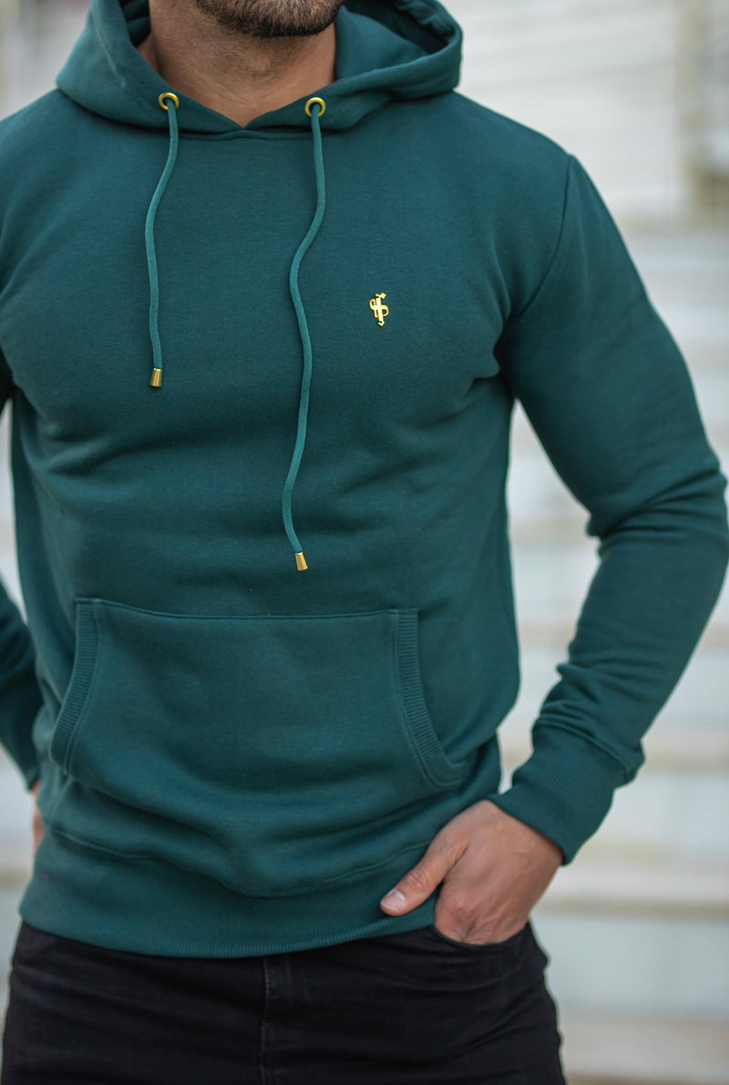Father Sons Forest Green & Gold Overhead Hoodie Jumper - FSH548