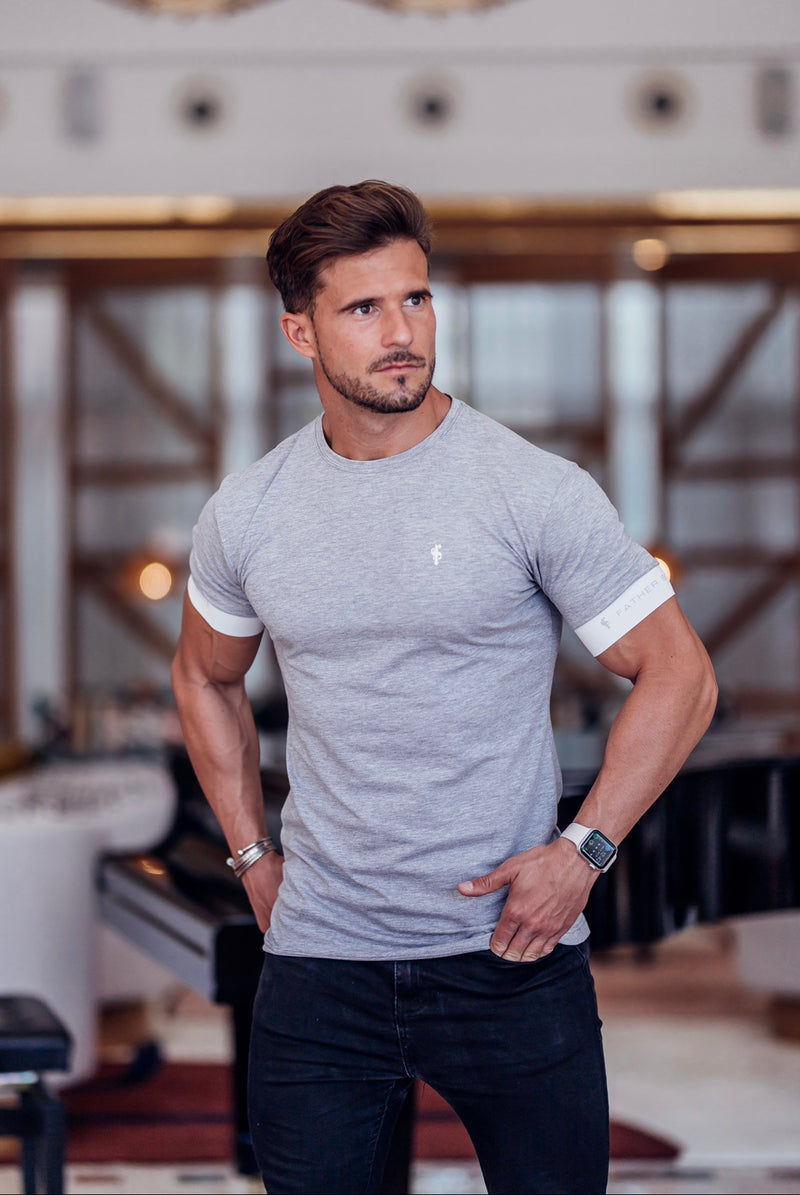 Father Sons Classic Light Grey Crew T Shirt with FS Elastic Sleeve Branding - FSH624