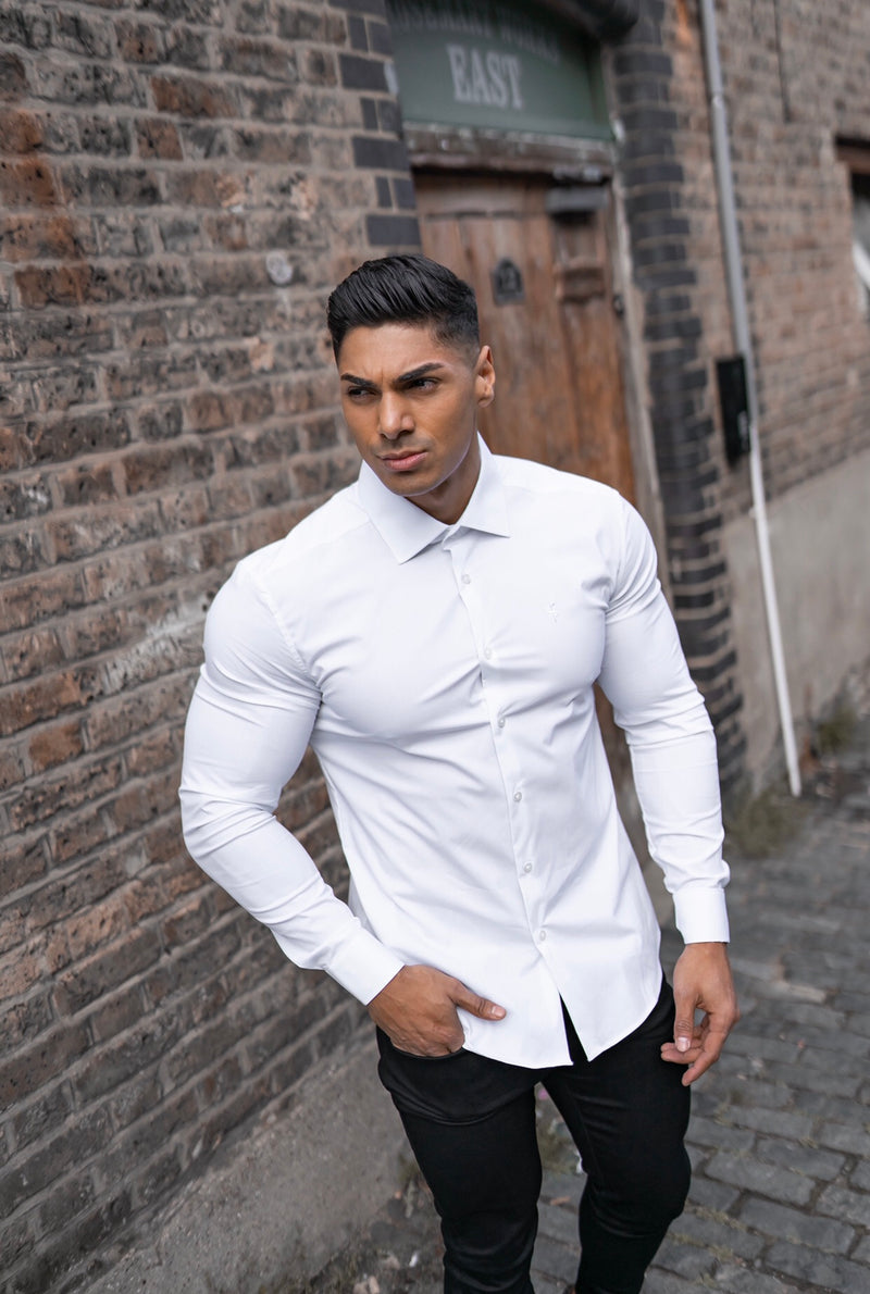 Father Sons Classic White Stretch Shirt with Cut Away Collar - FS565