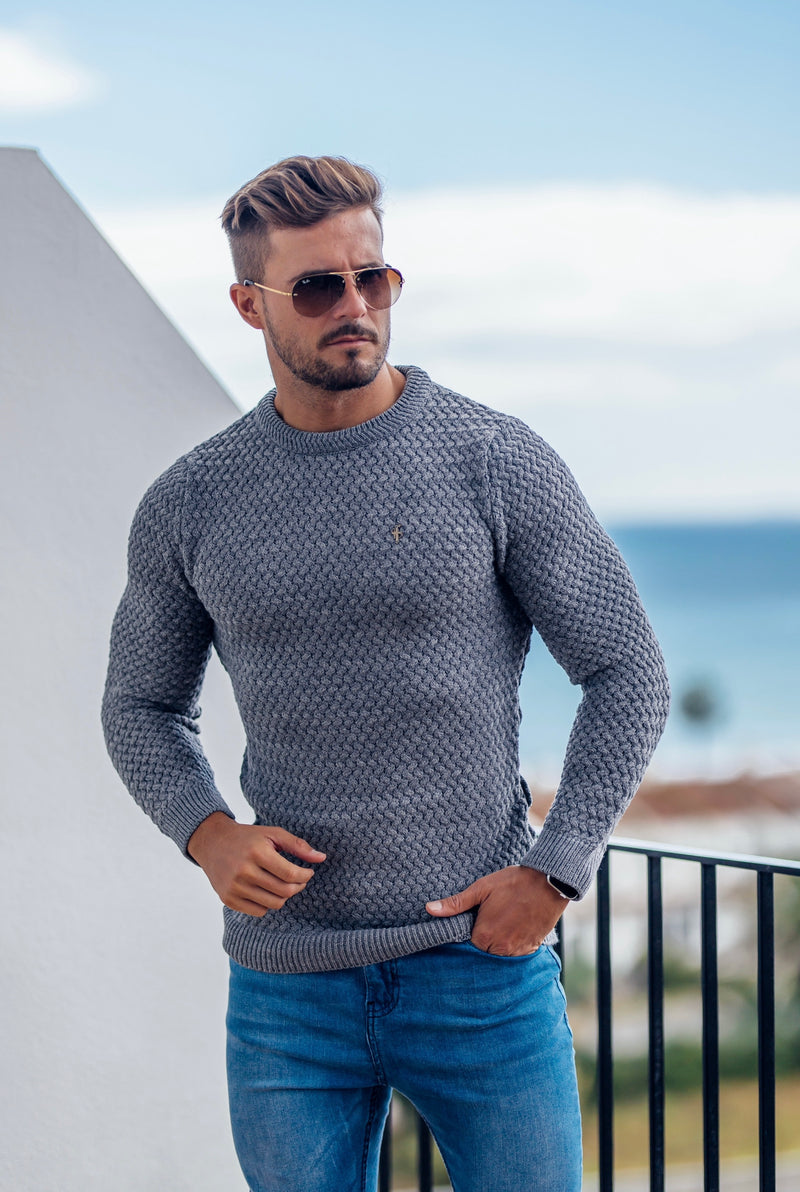 Father Sons Grey Knitted Weave Super Slim Jumper With Metal Decal - FSJ016