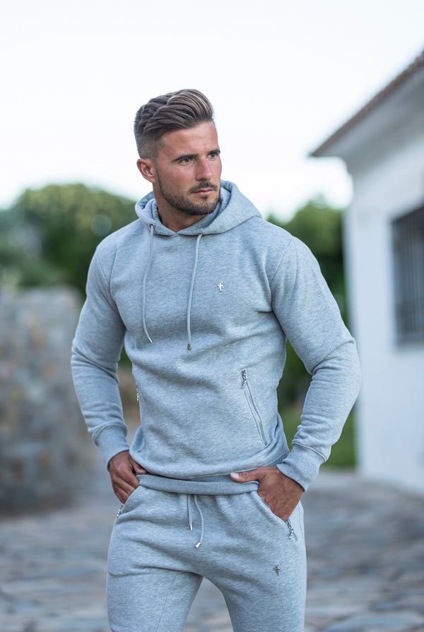 Father Sons Light Grey & Silver Overhead Hoodie Top with Zipped Pockets - FSH473 (PRE ORDER / DISPATCH DATE 22ND JUNE)