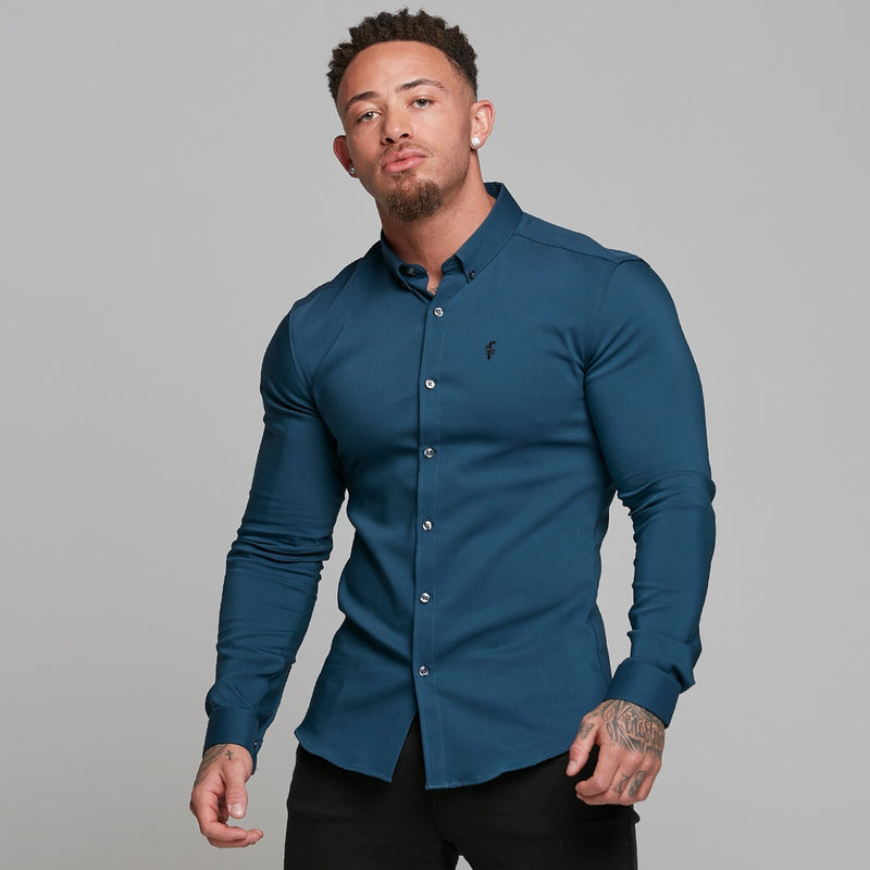 Father Sons Super Slim Ultra Stretch Classic Teal (Charcoal Buttons) -  FS484