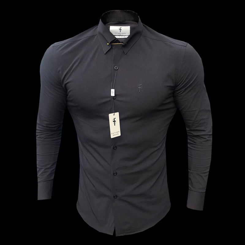 Father Sons Regular Stretch Black Stretch Shirt with Gold Pin Collar - FS594