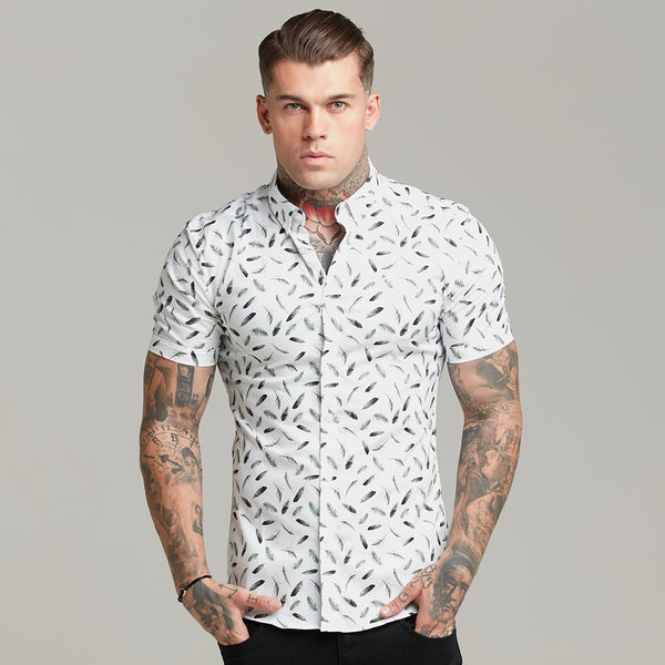 Father Sons Super Slim Stretch Khaki Feather Print Short Sleeve Button Down - FS561