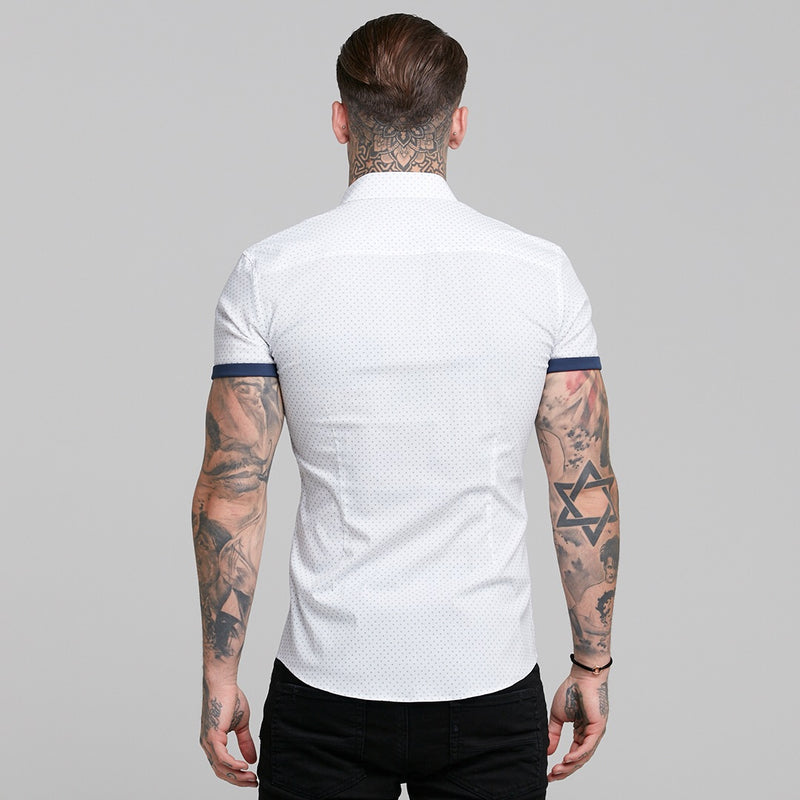 Father Sons Super Slim Stretch White & Navy Ditsy Print Short Sleeve FS413
