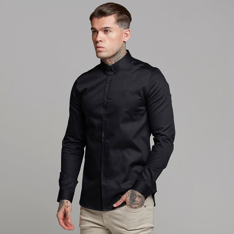 Father Sons Classic Black Luxe Egyptian Cotton Button Down - FS491