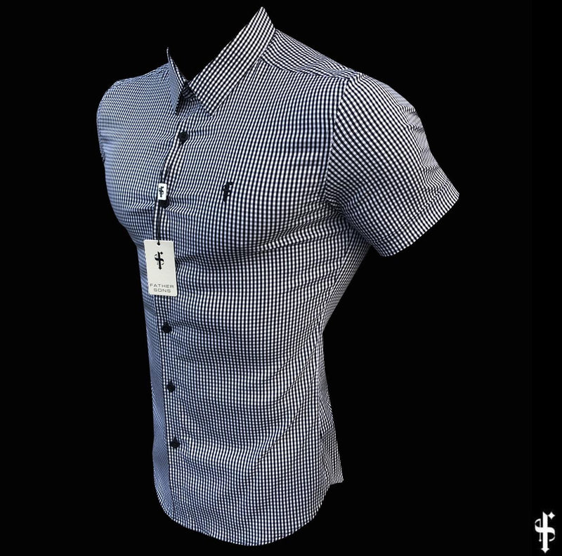 Father Sons Super Slim Stretch White and Black Check Short Sleeve - FS453
