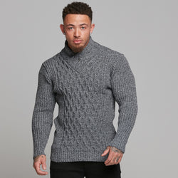 Father Sons Chunky Cable Knit Light Black and White Jumper - FSJ007