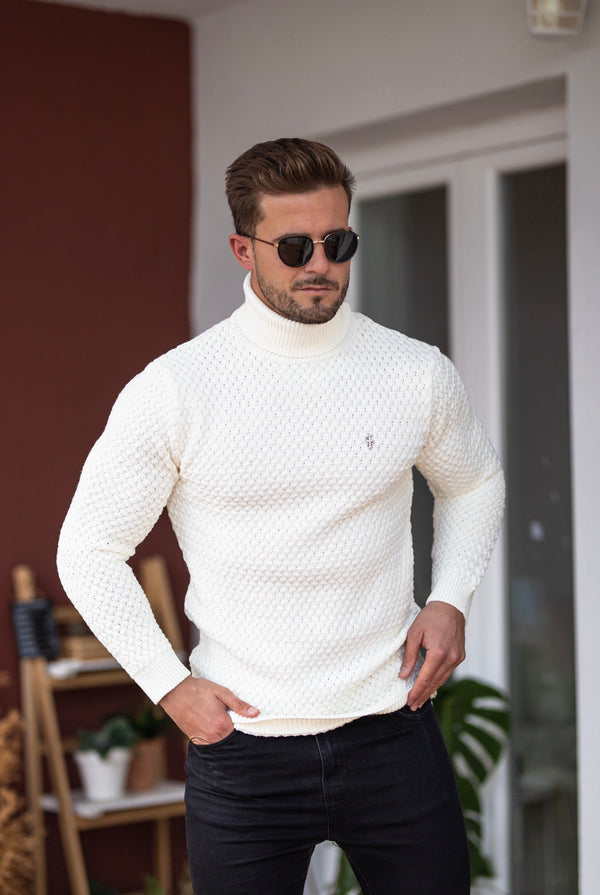 Father Sons Cream Knitted Roll Neck Weave Super Slim Jumper With Metal Decal - FSJ026 (PRE ORDER 10TH DECEMBER)