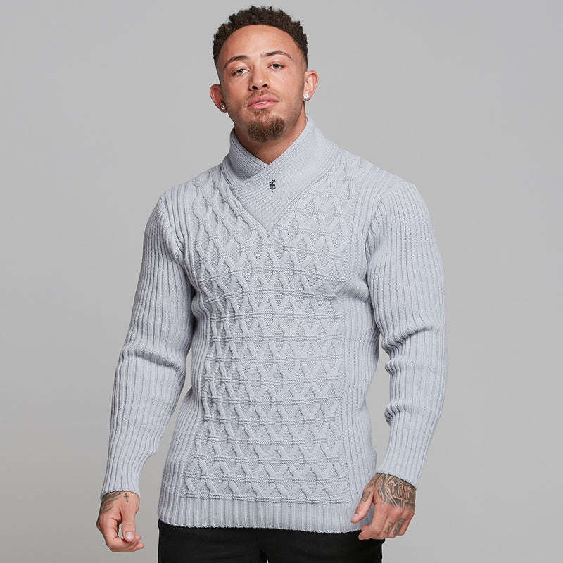 Father Sons Chunky Cable Knit Light Grey Jumper - FSJ009