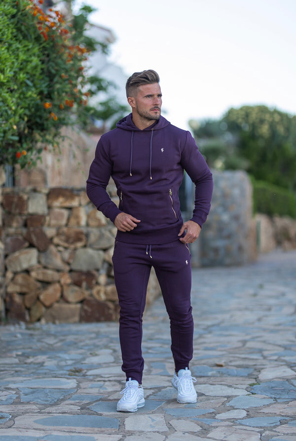 Father Sons Plum / Purple & Gold Overhead Hoodie Top with Zipped Pockets - FSH485 (PRE ORDER / DISPATCH DATE 31ST AUGUST)