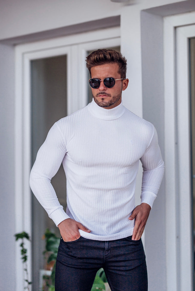 Father Sons Classic White Ribbed Knit Roll-neck Jumper - FSH592