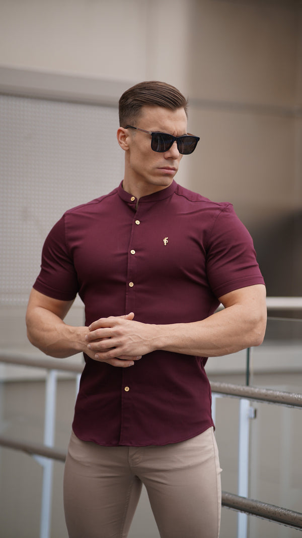 Father Sons Super Slim Stretch Burgundy Denim Short Sleeve Grandad collar with Metal Buttons and Decal Emblem - FS722