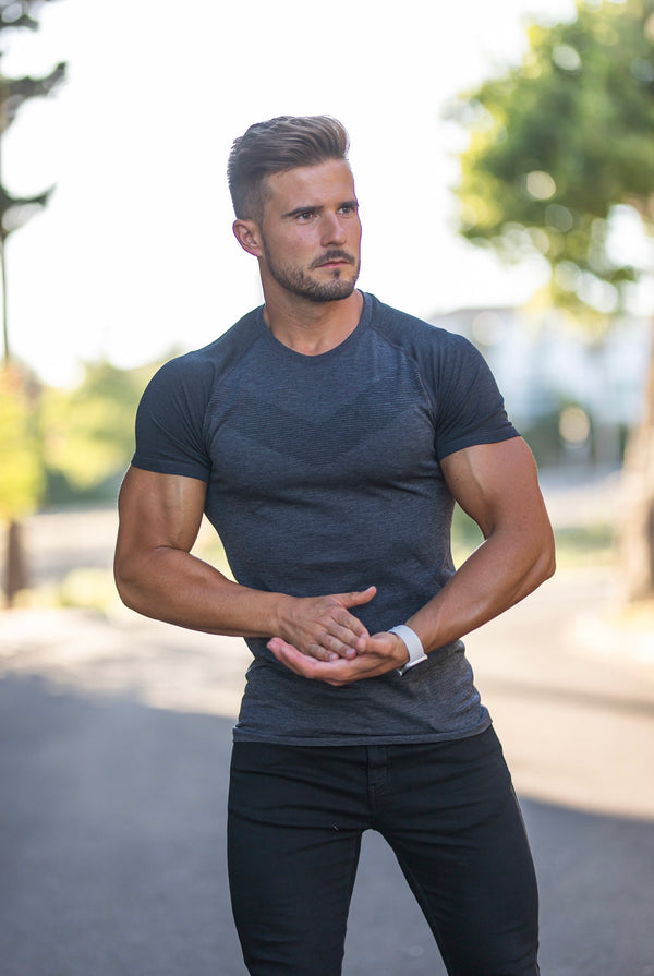 Father Sons Short sleeve Charcoal crew gym top with Raglan sleeve detail - FSM026