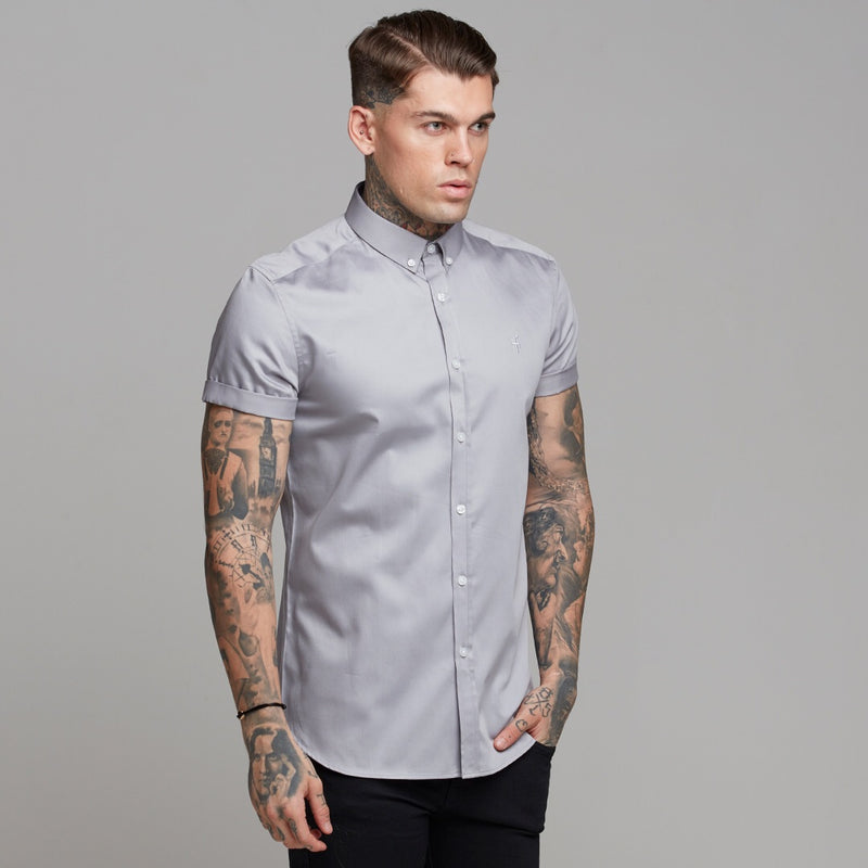 Father Sons Classic Grey Luxe Egyptian Cotton Button Down Short Sleeve - FS490