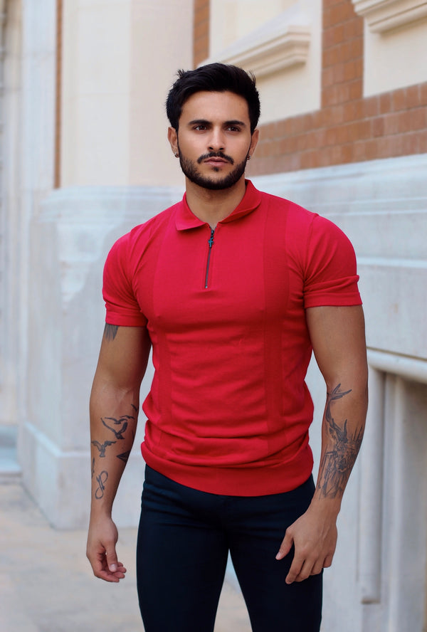 Father Sons Classic Red and Black Zip Knitted Short Sleeve Polo - FSH467
