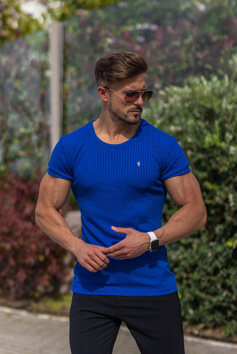 Father Sons Classic Royal Blue Ribbed Knit Super Slim Short Sleeve Crew with Black Metal Emblem - FSH599