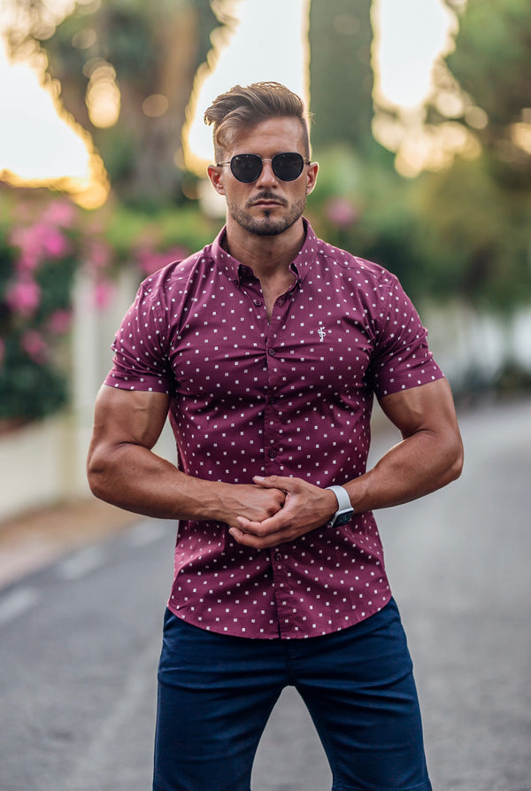Father Sons Super Slim Stretch Burgundy & White Broken Square Print Short Sleeve - FS689