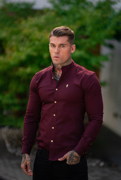 Father Sons Super Slim Stretch Burgundy Denim Long Sleeve Grandad collar with Metal Buttons and Decal Emblem - FS721