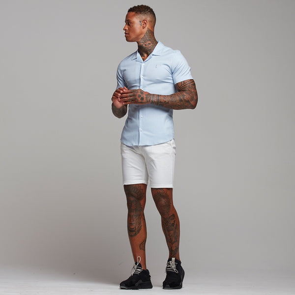 Father Sons Super Slim Stretch Revere Light blue oxford Short Sleeve - FS439