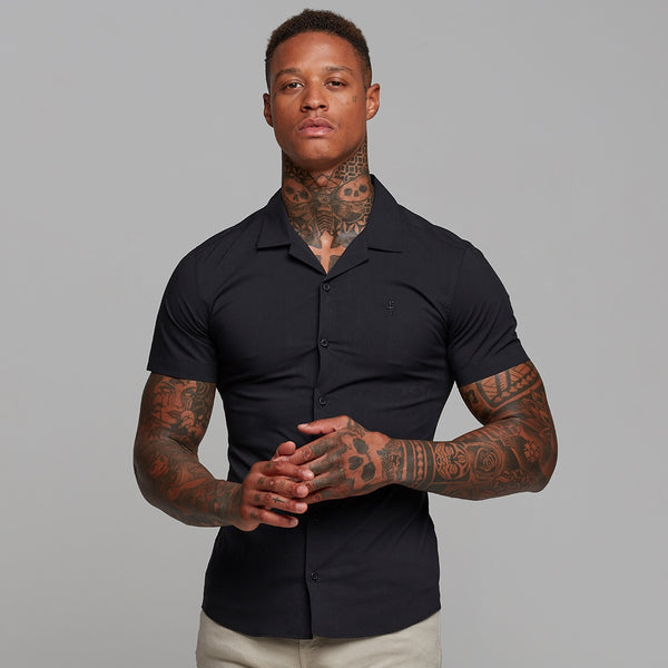 Father Sons Super Slim Stretch Revere Classic Black Short Sleeve - FS404