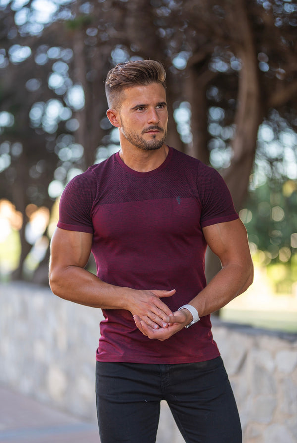 Father Sons Short sleeve Burgundy / Black crew gym top - FSM029
