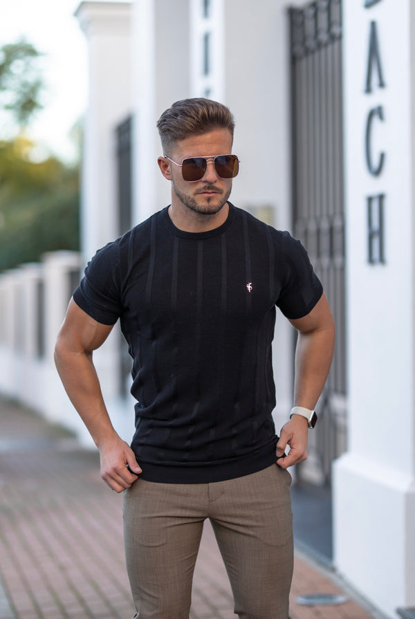 Father Sons Classic Short Sleeve Black Knitted Wide Rib Crew with Gold Emblem - FSH559 (PRE ORDER 24TH MAY)