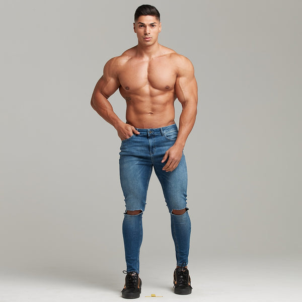 Father Sons Slim Stretch Denim Blue Distressed Ripped Jeans - FSH403