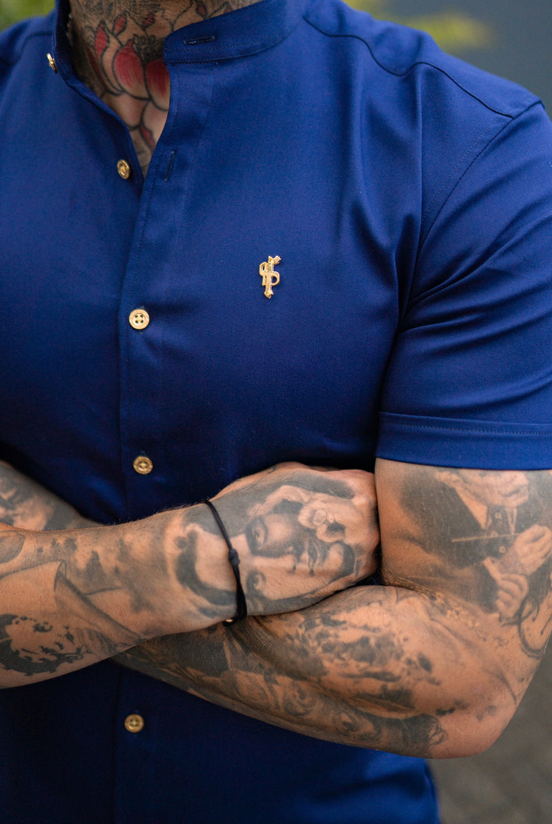Father Sons Super Slim Stretch Navy Denim Short Sleeve Grandad collar with Metal Buttons and Decal Emblem - FS714