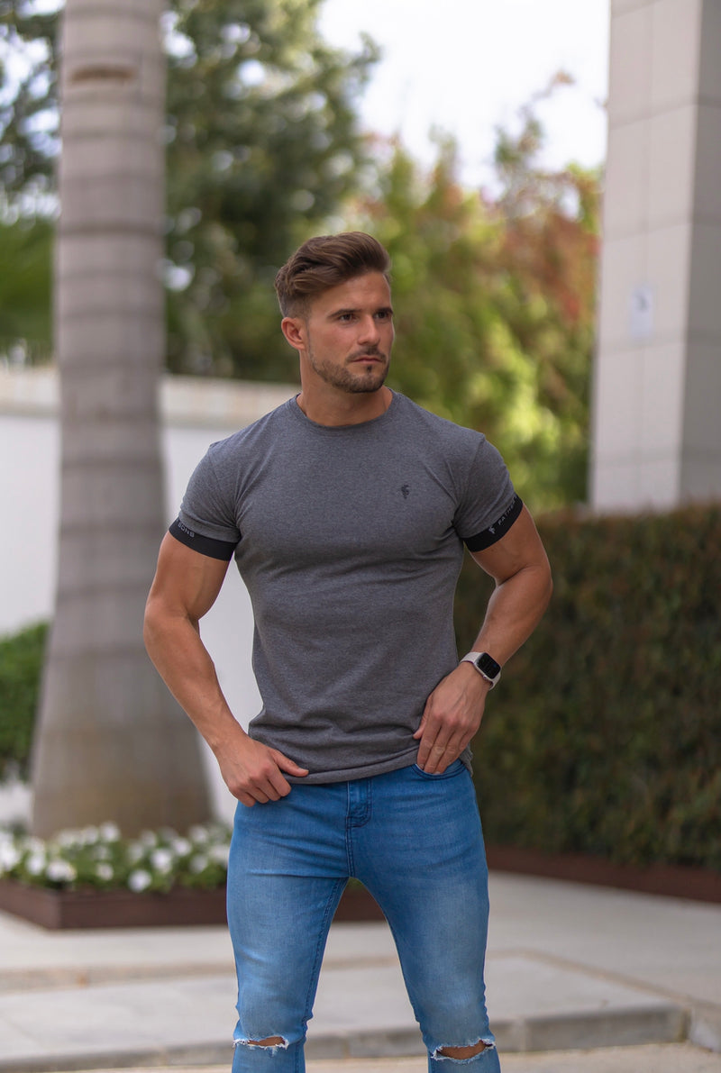 Father Sons Classic Dark Grey Crew T Shirt with FS Elastic Sleeve Branding - FSH637 (PRE ORDER 29TH APRIL)