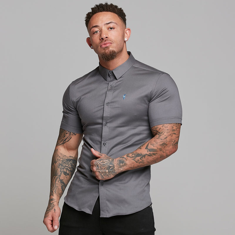 Father Sons Super Slim Luxe Ultra Stretch Dark Grey Short Sleeve -  FS536