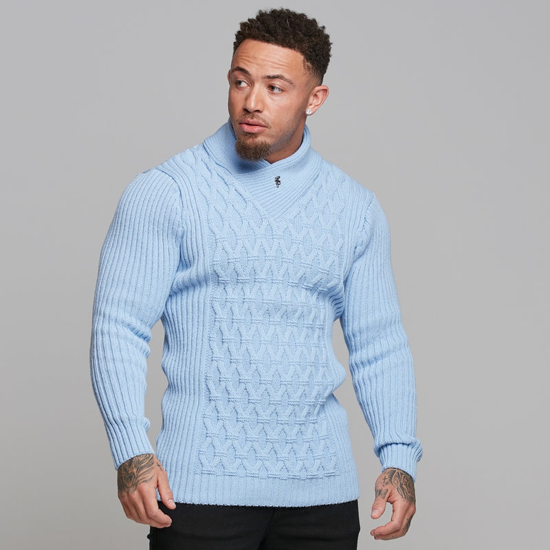 Father Sons Chunky Cable Knit Light Blue Jumper - FSJ008