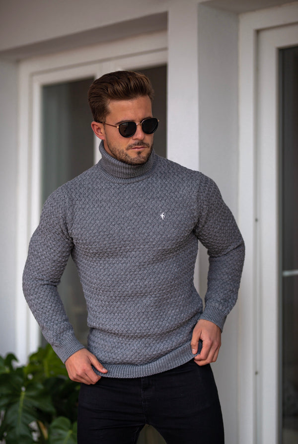 Father Sons Charcoal Knitted Roll Neck Weave Super Slim Jumper With Metal Decal - FSJ027