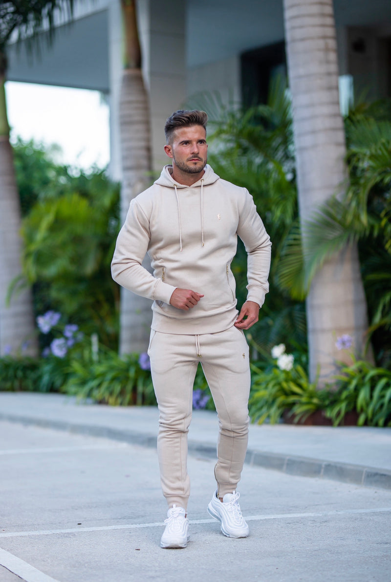 Father Sons Beige & Gold Overhead Hoodie Top with Zipped Pockets - FSH483