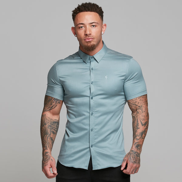 Father Sons Super Slim Luxe Ultra Stretch Slate Grey Short Sleeve -  FS540