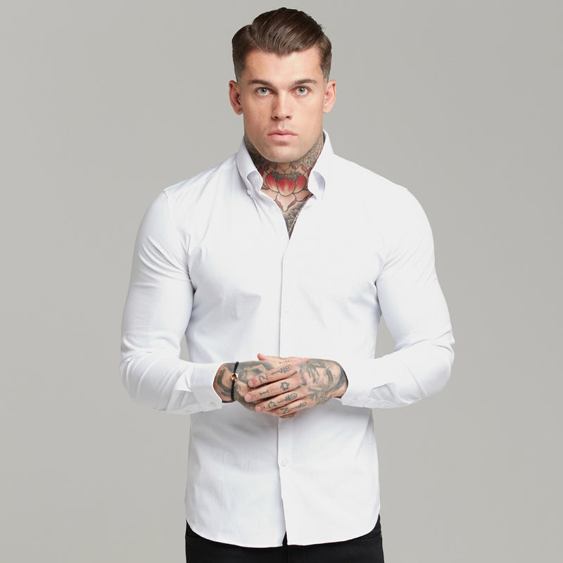Father Sons Classic White Regular Stretch Shirt with Button Down Collar and White Embroidery - FS589