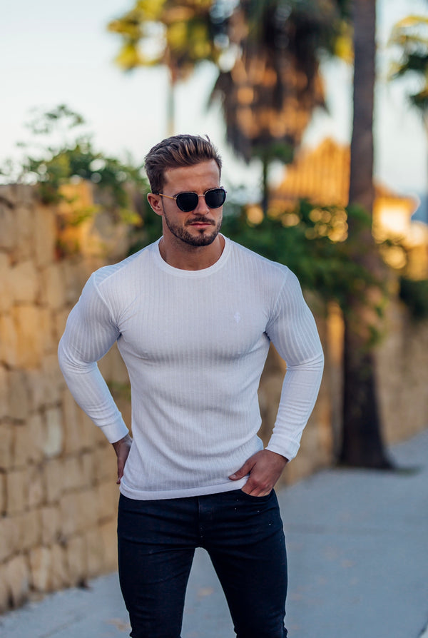 Father Sons Classic White Ribbed Knit Jumper - FSH534