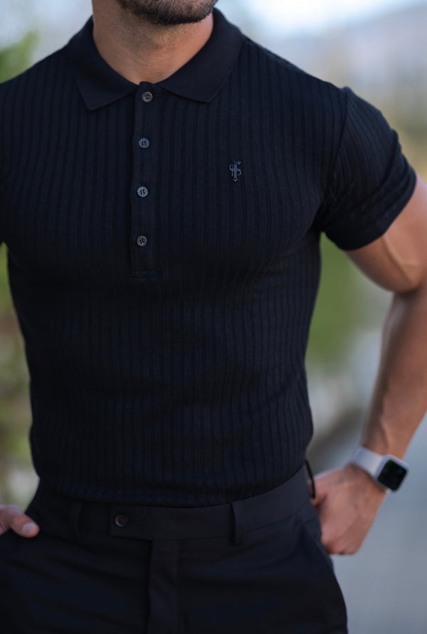 Father Sons Classic Black Ribbed Polo Shirt Short Sleeve - FSH551