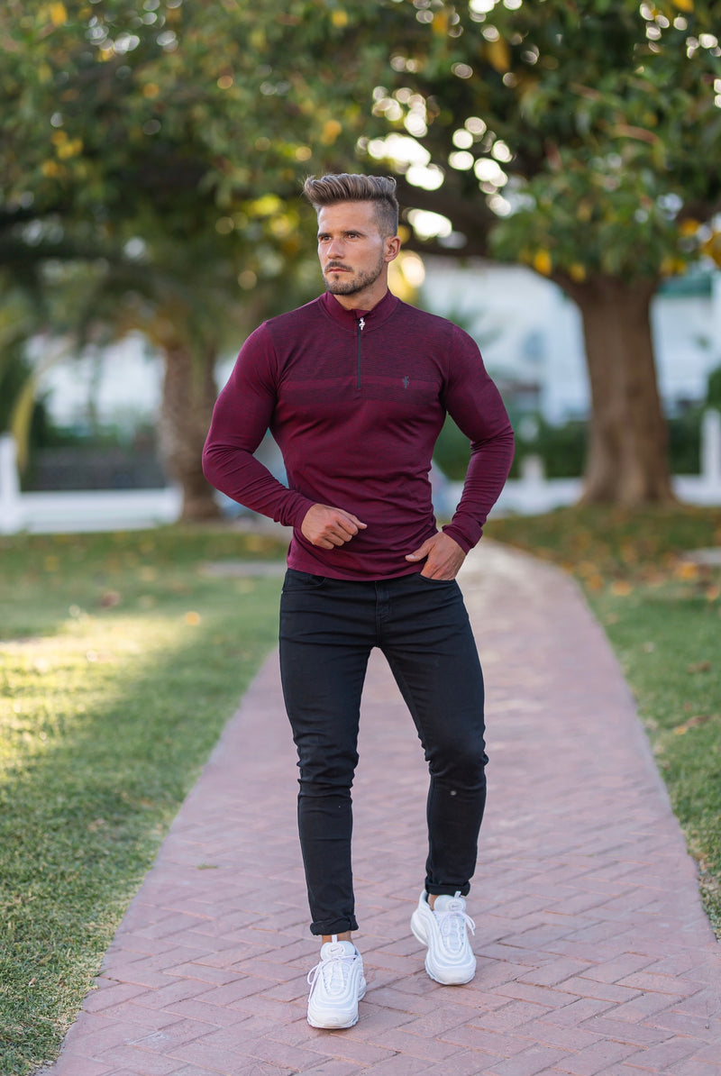 Father Sons Long sleeve Burgundy / Black half zip gym top - FSM030