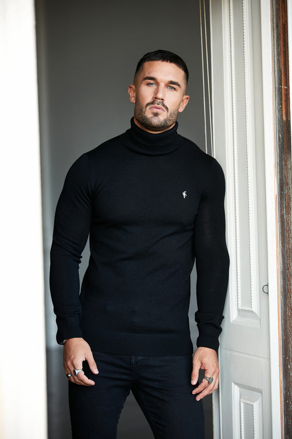 Father Sons Classic Black Roll Neck Merino Wool Knitted Jumper (Metal Emblem) - FSN001