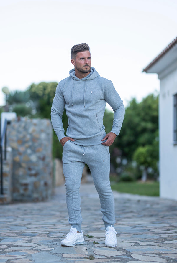 Father Sons Light Grey & Silver Overhead Hoodie Top with Zipped Pockets - FSH473